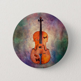 Magical cello with butterflies 2 inch round button