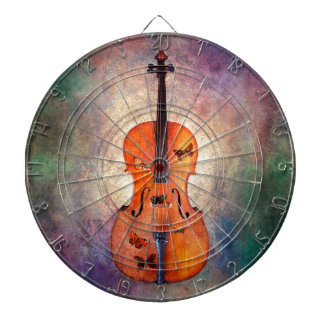 Magical cello with butterflies dartboard