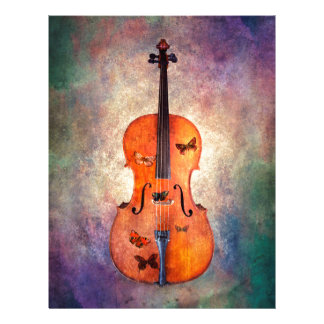 Magical cello with butterflies letterhead
