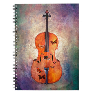 Magical cello with butterflies notebooks