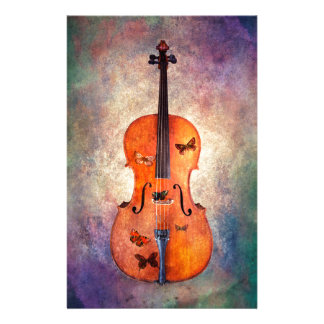 Magical cello with butterflies stationery