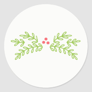 Magical Christmas Mistletoe Teal ID441 Classic Round Sticker