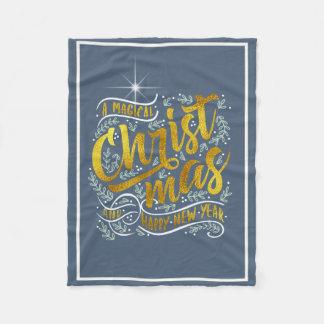 Magical Christmas Typography Gold ID441 Fleece Blanket