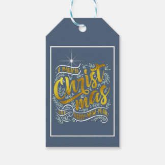 Magical Christmas Typography Gold ID441 Gift Tags