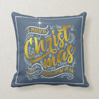 Magical Christmas Typography Gold ID441 Throw Pillow