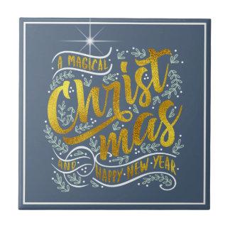 Magical Christmas Typography Gold ID441 Tile