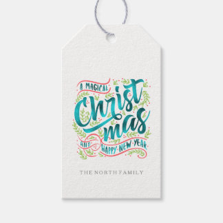 Magical Christmas Typography Stripes Teal ID441 Gift Tags