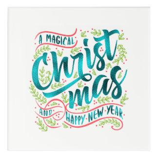 Magical Christmas Typography Teal ID441 Acrylic Wall Art