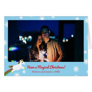 Magical Christmas Unicorn Photo Frame Holiday Card