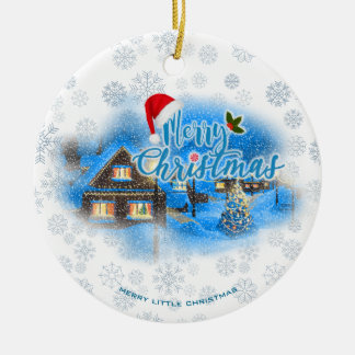 Magical Christmas Village Ceramic Ornament