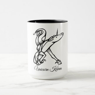 Magical Cute Monogram K Unicorn Karen or Your Text Mug