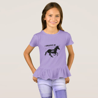 Magical Cute Unicorn I Believe In Me, Black Purple T-Shirt