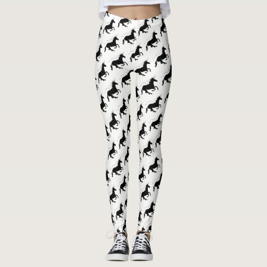 Magical Cute Unicorn Pattern Black and White Funny Leggings