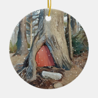 Magical Elf House Round Ceramic Ornament