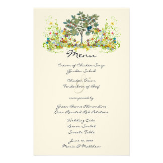 Magical Fairy Tale Forest Wedding Menu Customized Stationery
