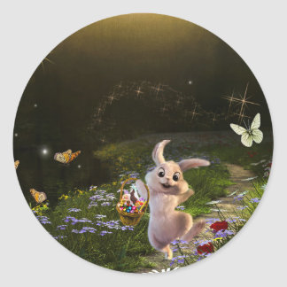 Magical Fantasy Easter Bunny Scene Classic Round Sticker