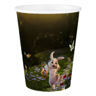 Magical Fantasy Easter Bunny Scene Paper Cup