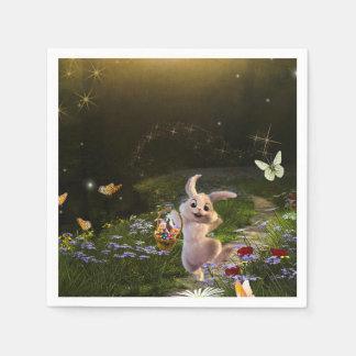 Magical Fantasy Easter Bunny Scene Paper Napkin