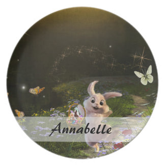 Magical Fantasy Easter Bunny Scene Plate