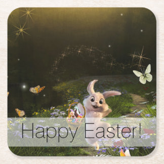 Magical Fantasy Easter Bunny Scene Square Paper Coaster