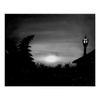 Magical Firefly Frenzy In Black & White Poster