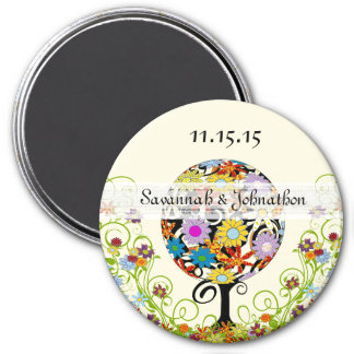 Magical Forest Circle of Love Flower Tree Wedding Magnet