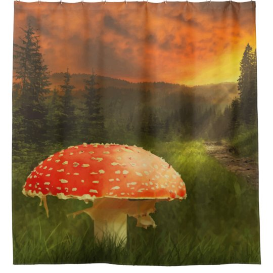 Magical Forest Print Shower Curtain