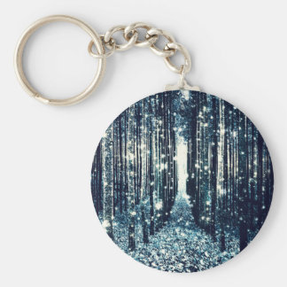 Magical Forest Teal Gray Elegance Basic Round Button Keychain
