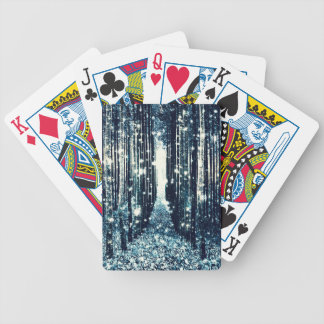 Magical Forest Teal Gray Elegance Bicycle Playing Cards