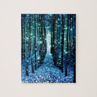 Magical Forest Turquoise Teal Jigsaw Puzzle