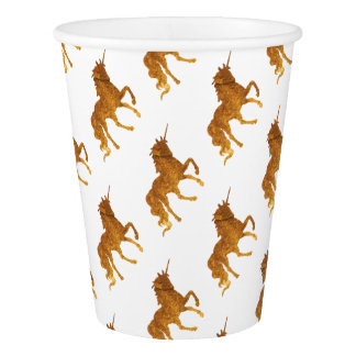 Magical golden prancing unicorn awesome colors paper cup