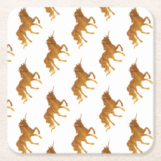 Magical golden prancing unicorn awesome colors square paper coaster