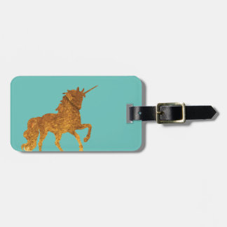 Magical Golden Prancing unicorn in textured finish Luggage Tag