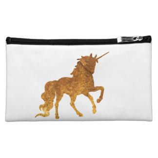 Magical Golden Prancing unicorn in textured finish Makeup Bag