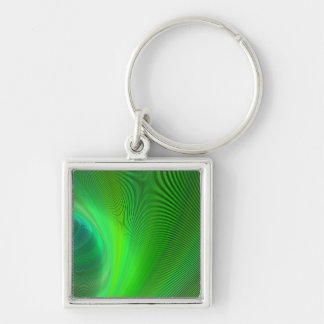 Magical green Silver-Colored square keychain
