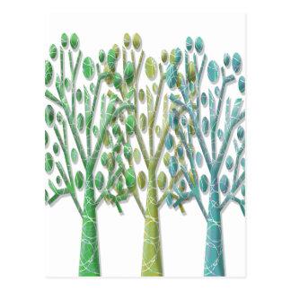 Magical green trees postcard