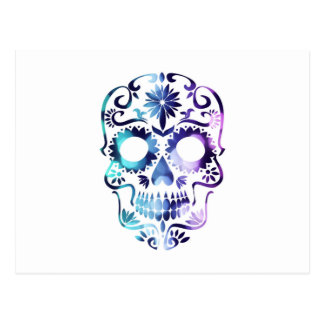 MAGICAL GYPSY SUGAR SKULL PRINT BLUE PURPLE HAZE POSTCARD