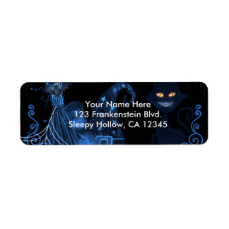 Magical Halloween Party Black Cat Blue Glow Lights Return Address Label