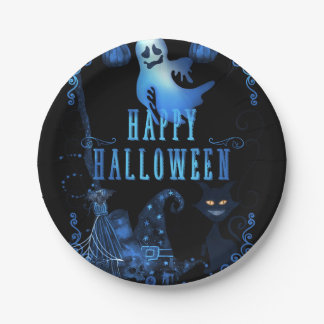 Magical Halloween Party Black Cat Blue Light Glow Paper Plate