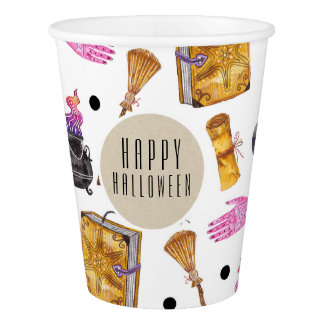 Magical Halloween Watercolor Whimsical Kraft Party Paper Cup