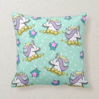 Magical Happy Unicorn And Stars Throw Pillow