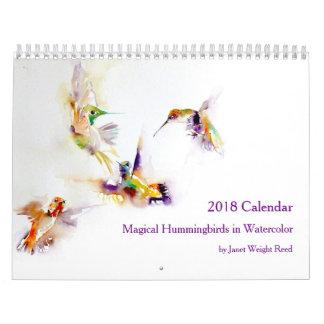 Magical Hummingbirds in Watercolor 2018 Wall Calendar