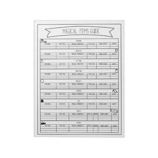 Magical Items Guide Sheets V2 Notepads