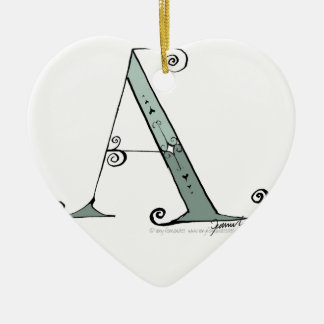 Magical Letter A from tony fernandes design Ceramic Heart Ornament