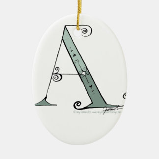 Magical Letter A from tony fernandes design Ceramic Oval Ornament