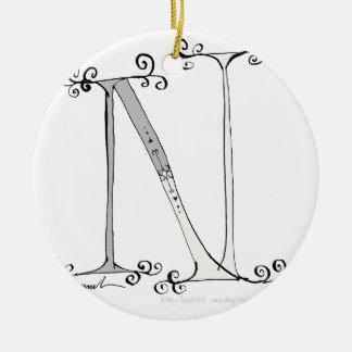 Magical Letter N from tony fernandes design Ceramic Ornament