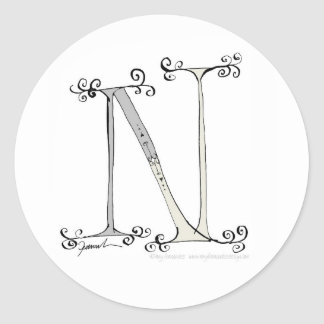 Magical Letter N from tony fernandes design Classic Round Sticker