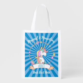 Magical Marvellous Aunt  - Unicorn Princess Reusable Grocery Bag