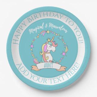 Magical Marvelous Aunt  - Unicorn Princess Paper Plate