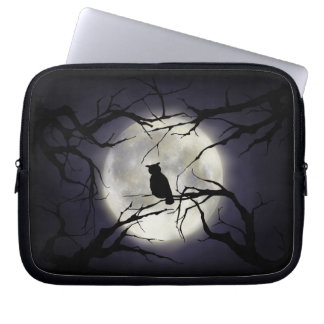 Magical Moon Owl on Branch Laptop Sleeve